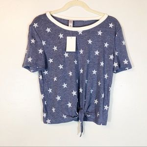 Alternative NWT blue & white stars tied front top